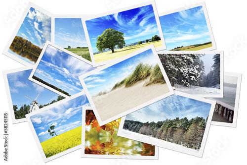 Leinwanddruck Bild Pile of nature photos