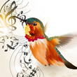 Music vector background with humming bird and notes