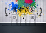 Colourful idea graphic in empty room