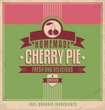 Cherry pie vintage vector poster template
