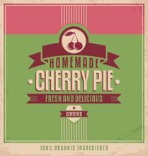 Cherry pie vecteur vieux modèle d'affiche