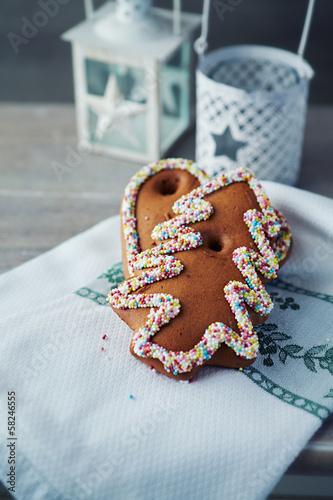 Gingerbread cookies on a christmas tea towel