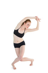 Full length of a sporty woman stretching