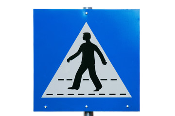 Pedestrian crossing sign close-up isolated on white