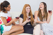 Cheerful female friends with wine glasses enjoying a conversatio