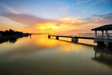 long jetty with beautiful twilight colors at Bagan Datoh