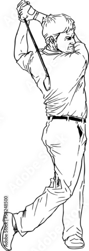 hand drawn golf player