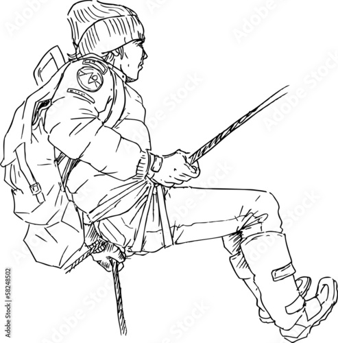 hand drawn mountain climber