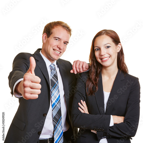 Business man holding thumbs up near woman