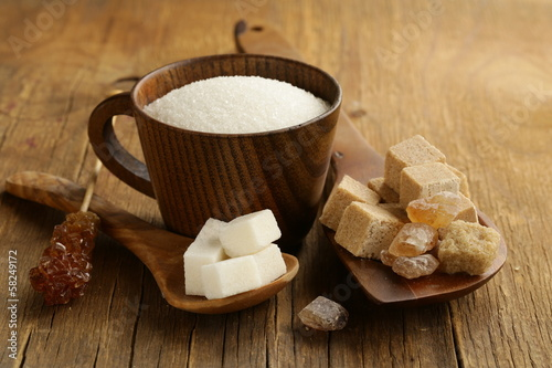 different kinds of sugar - brown, white, refined sugar