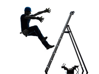 manual worker man falling from  ladder  silhouette
