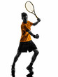 man tennis celebrating player silhouette