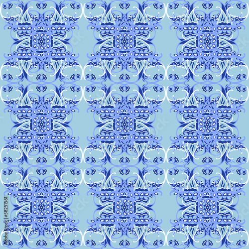 Blue seamless floral ornament abstract background