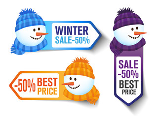 Winter Sales Labels With a Snowman