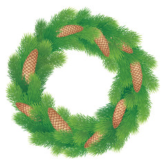 Christmas wreath of pine branches with cones
