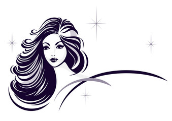 Hair stile icon, girl's face