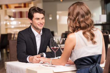Loving couple at the restaurant.