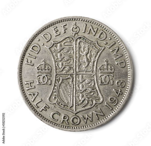 Old British half crown coin