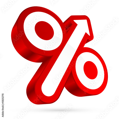 Percent Sign Arrow Right Up Back 3D Red