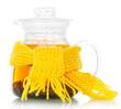 Teapot with tea tied yellow scarf