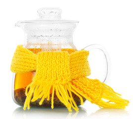 Teapot with tea tied yellow scarf