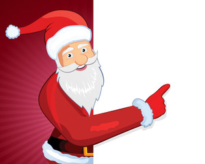 illustration of a happy cartoon santa smiling and pointing