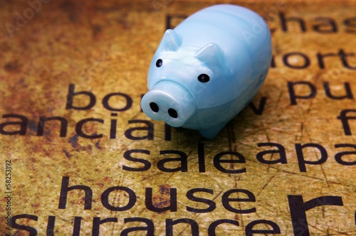 Sale house and piggy bank concept