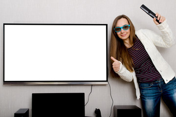 woman with tv
