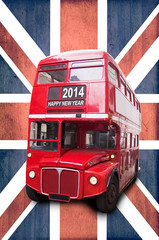 2014, double decker red bus against union jack