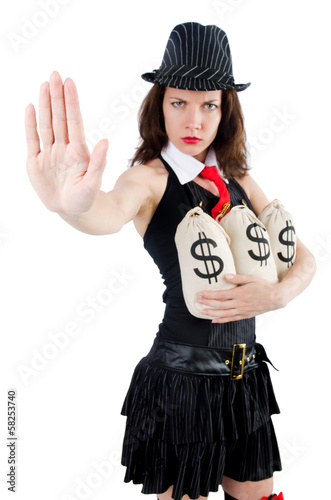 Woman gangster with money sacks on white