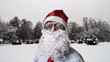 santa claus in snowy landscape winter