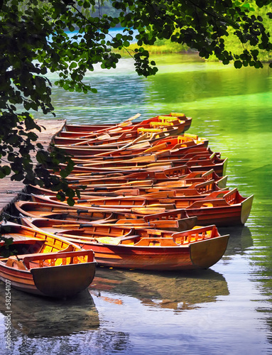 Boats in the national park Plitvice