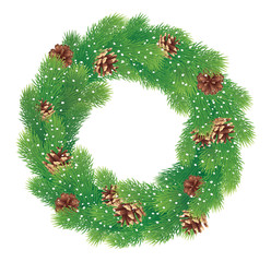 Christmas wreath with pine cones and snow