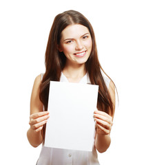 woman holds out a card