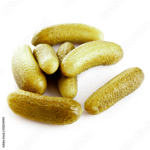 pickled cucumbers. Gherkins on a white background