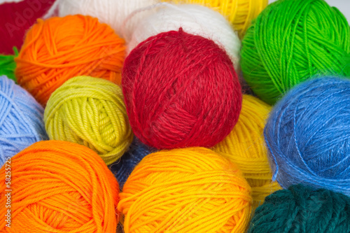colorful balls of wool yarn
