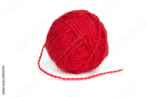 Ball of red wool yarn