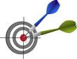 Ziel 2 Dartpfeile Erfolg Konzept Dartscheibe - Vektor