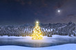 Illuminated Christmas tree in Alpine winter landscape