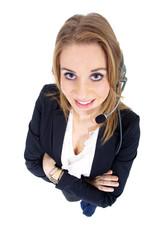 Hübsche Callcenter Frau blickt hoch