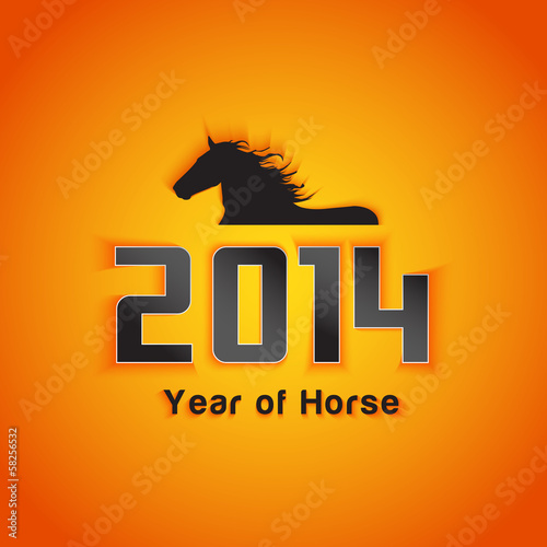 Year of horse with shadow effect sample