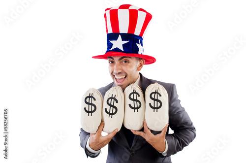 Man with dollar sacks on white