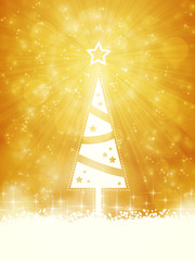 White shiny Christmas tree on sparkling golden background