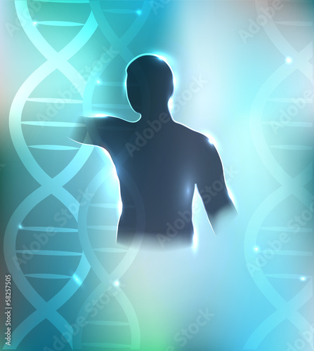 Human silhouette and DNA chains