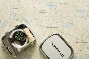 Survival kit on map