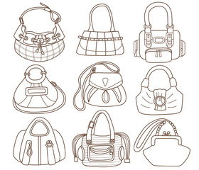 collection of fashionable women's handbags (coloring book)