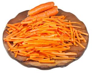 raw strips cut carrot on cutting board