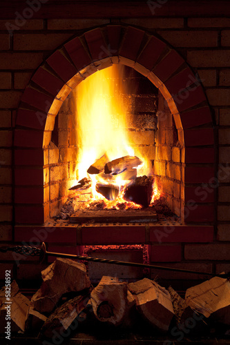 fire in home fireplace