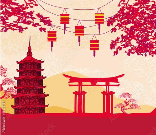 Naklejka Chiński Nowy Rok kart - Tradycyjne lampiony i budynki Azji