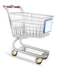 Einkaufswagen Supermarkt, freigestellt